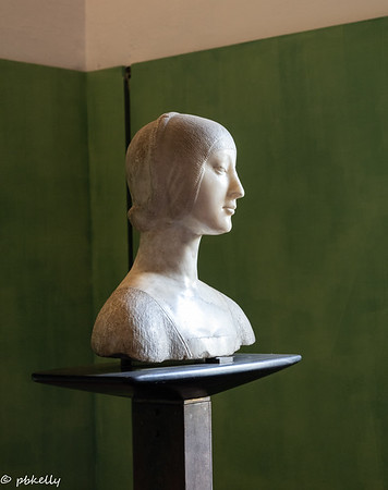 092321.  Bust of a Noblewoman by Laurana in the Regional Museum.  Exquisite in itself, I loved how the light hit it.