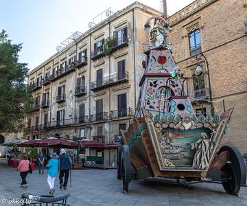 092321.  Festival cart in Palermo.  Looks like it might be Saint Rosalia.