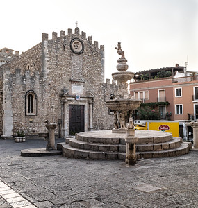 091621. Duomo di Taormina.  I love all the old gothicness with the addition of the delivery truck.