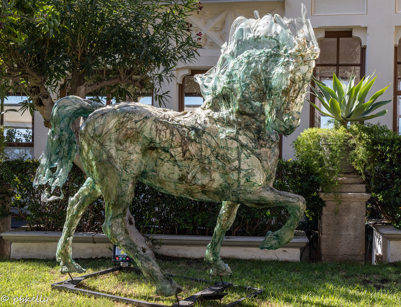 Interesting horse statue in a garden in Taormina.