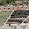 View of some of the seats in the Amphitheatre in various stages of excavation and reconstruction.