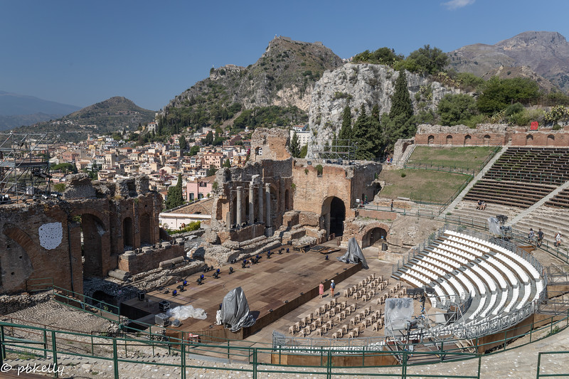 091421.  Greek Amphitheatre  in Taormina with reconstruction and modification  is used for concerts, etc.