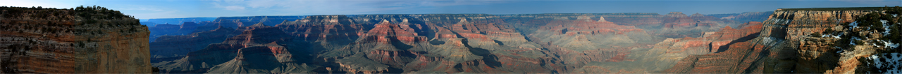 Composite of 7 photos of Grand Canyon to encompass full wide angle view.