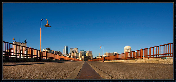 Minneapolis sky line from the Stone Arch Bridge