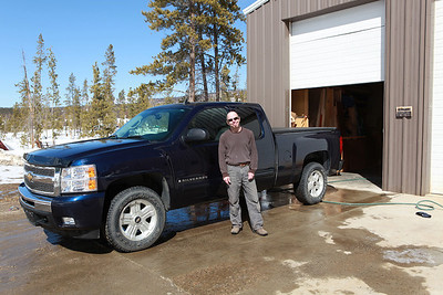 My friend Mark and his new truck outside his shop near Tabernash, CO.