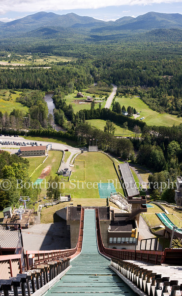 View from the 120 meter ski jump at the Lake Placid Olympic Jumping Complex