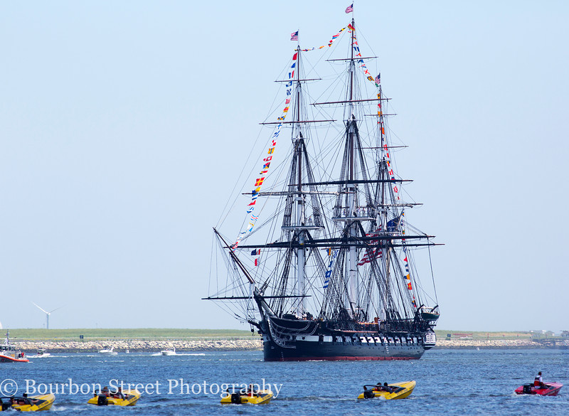 USS Constitution (Old Ironsides) on its annual turn-around cruise in Boston Harbor, July 4th 2013