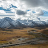 The trans-Alaska oil pipeline and Dalton Highway run through Atigun Pass in the Brooks Range on their route from Alaska's Arctic to Valdez.