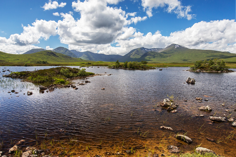 Rannoch Moor on a Summers day with the Black Mount range in the background
