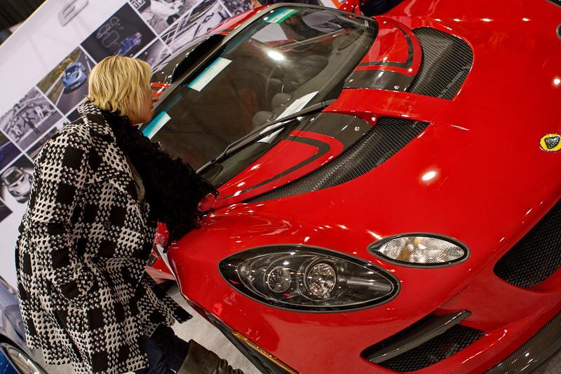 Jen checking out a Lotus Spyder