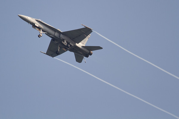 F-18 Hornet showing its performance at slow speeds.