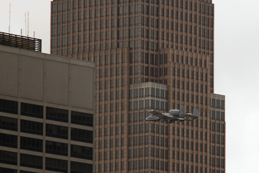 A-10 Thunderbolt III passing between buildings in downtown Cleveland<br /> 2011 Cleveland National Air Show