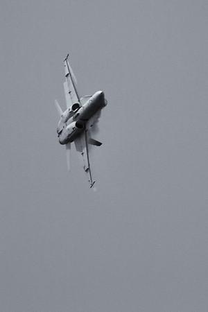 High G turn by an F-18 Hornet.