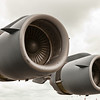 Two of the four engines on a C-17 Globemaster III