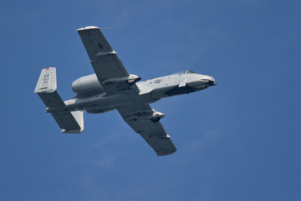 A-10 Thunderbolt II, also called the Warthog and the Tank Buster.  Check out that 30mm Cannon!