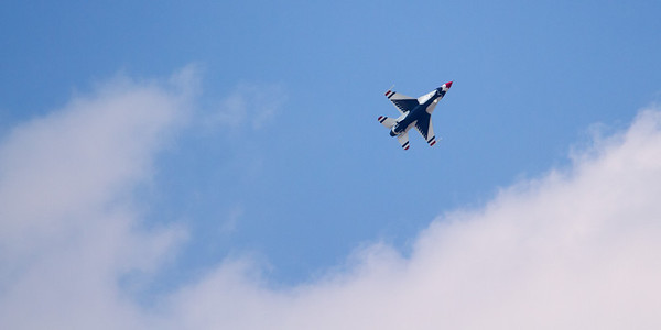 One of the Thunderbirds banks to the left from a practice run Thursday afternoon.