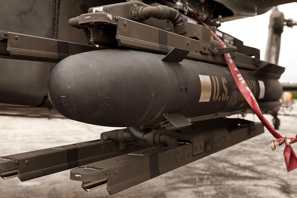 Hellfire missile mounted on an AH-64 Apache Gunship<br /> 2011 Cleveland National Air Show
