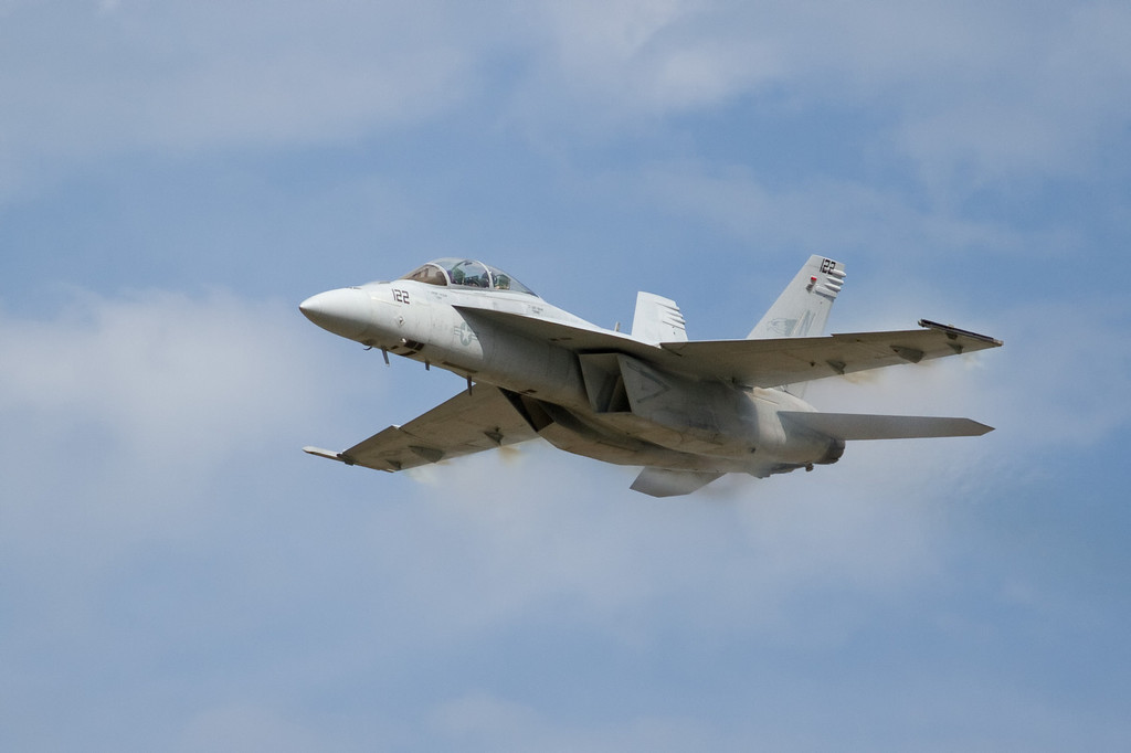 F-18 Super Hornet.  The Super Hornets are a larger and more powerful version of the F-18.  You can tell them apart by looking at the engine intakes.  The Super Hornet has rectangular shaped intakes while the F-18 has oval shaped intakes.