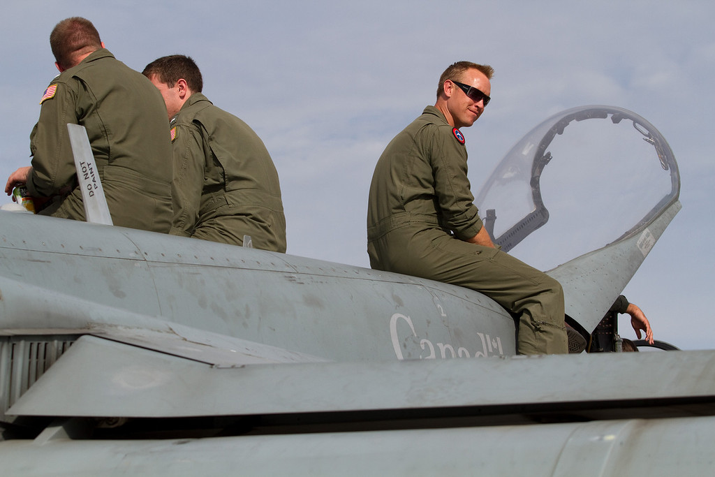 Pilots of an Canadian F-18 enjoying the show<br /> Cleveland National Air Show 2010