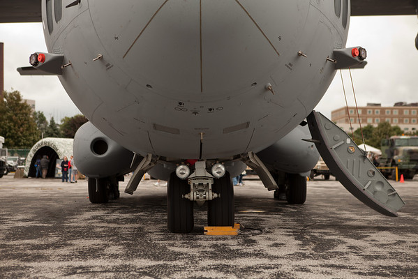 The nose and undercarriage of an Airbus A400 Cargo Plane<br /> 2011 Cleveland National Air Show