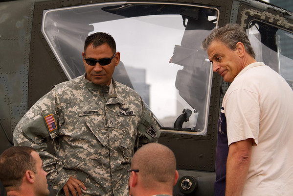 Pilot of an AH-64 Apache Gunship talk to the crowd<br /> 2011 Cleveland National Air Show
