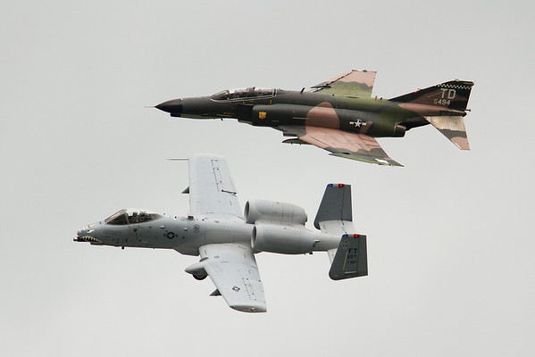 Heritage flight, A-10 Thunderbolt III and and F-4 Phantom<br /> 2011 Cleveland National Air Show