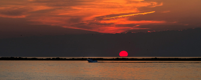 """Sunset at Chesapeake Bay, Ocean City Maryland.<br /> Sized for both 20x8"""" and 30x10"""" Panoramic Portrait."""