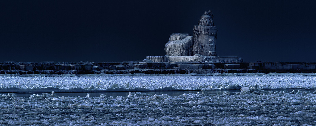 "Frozen in time, the Cleveland Harbor West Pierhead Lighthouse.<br /> Perfect for a 30""x12"" panoramic print"