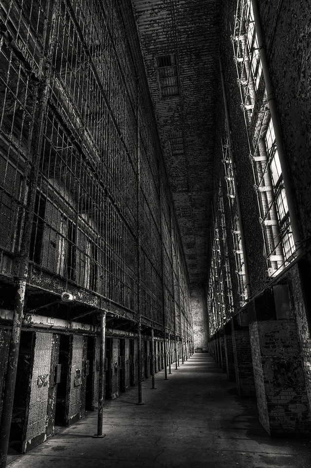 The Eastern Cell Block<br /> Mansfield Reformatory<br /> EOS 5D Mark II_4901_2_3_HDR_BW