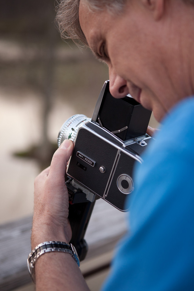 The viewfinder is at the top of the Hasselblad.