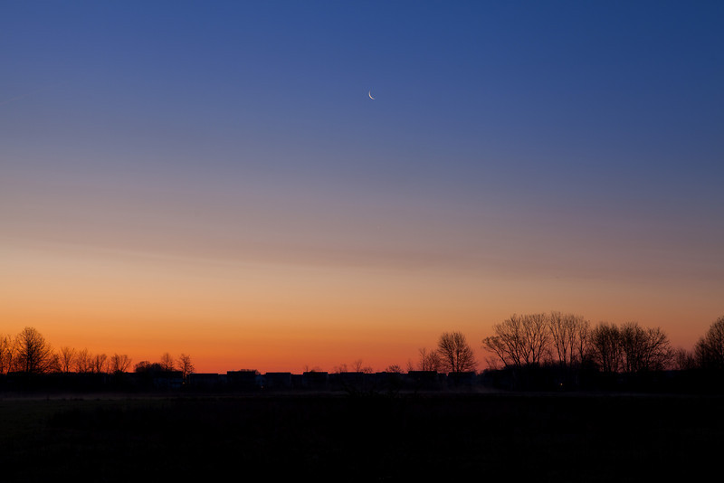 The moon and the rising sun getting ready for a shift change.<br /> Sandy Ridge Reservation, North Ridgeville Ohio