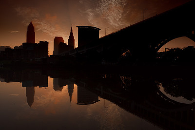 Downtown Cleveland at sunrise.