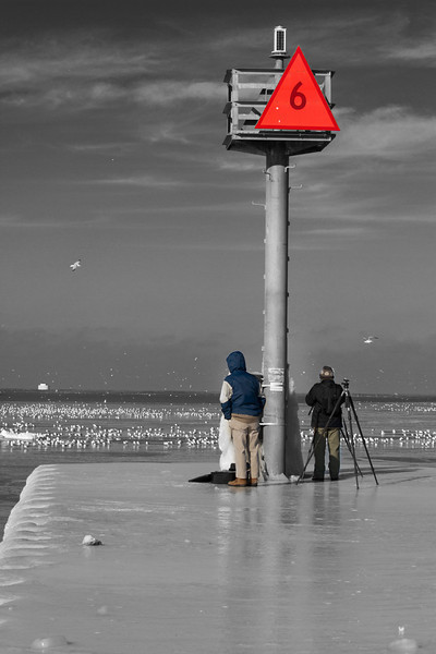 Two photographers getting the closest land vantage point to take photos of the Lighthouse/Icehouse.