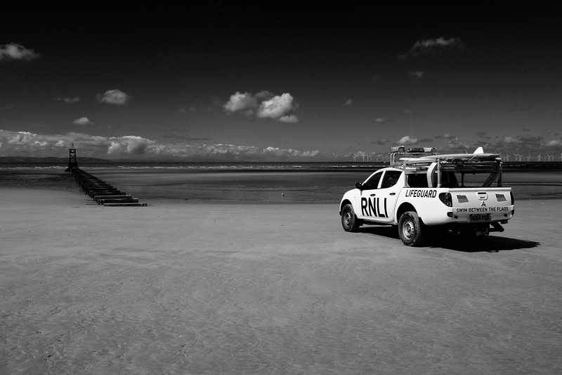 RNLI Lifeguard On Duty At Crosby Beach