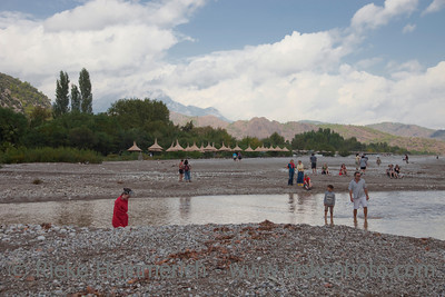 People on flooded Beach after severe Weather - Tourist Resort in Cirali, Turkey, Asia