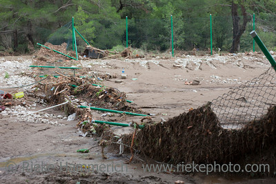 Destroyed Chainlink Fence after Flood Disaster - Olympos, Turkey, Asia