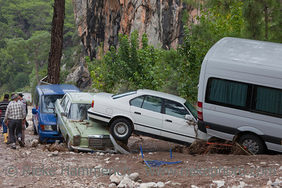 Crashed Cars in Turkish Village - Flood Disaster in Olympos, Turkey, Asia