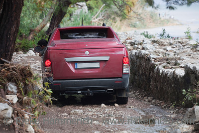 Off-Road Vehicle on narrow dirt Road - Rescue Work after Flood Disaster in Olympos, Turkey, Asia