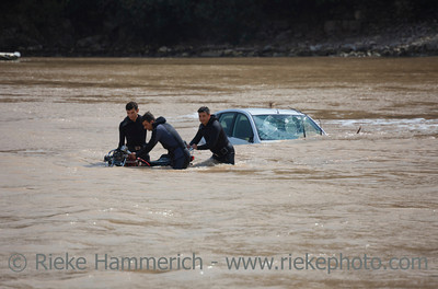 Frogmen recover a Motorcycle - Flood Disaster in Olympos, Turkey, Asia