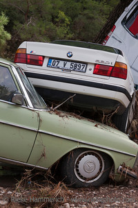 Wedged Cars after Flood Disaster - Olympos, Turkey, Asia