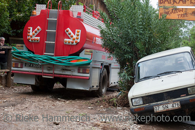 Fire Truck on Dirt Road - Flood Disaster in Olympos, Turkey, Asia