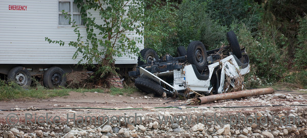Overturned Car near Emergency Room - Flood Disaster in Olympos, Turkey, Asia
