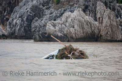 Damaged Car flooded in the Ocean - Flood Disaster in Olympos, Turkey, Asia