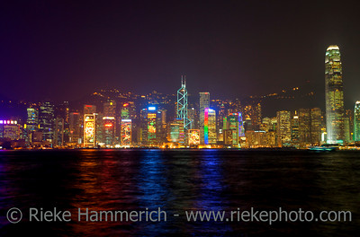 Illuminated Skyline of Hong Kong - Hong Kong Island at Night, China, Asia