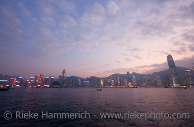 Skyline of Hong Kong at Dusk - Hong Kong Island, China, Asia