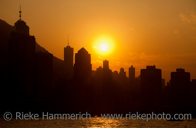 Skyline of Hong Kong at Sunset - Hong Kong Island, China, Asia