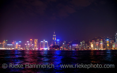 Skyline of Hong Kong at Night - Hong Kong Island, China, Asia