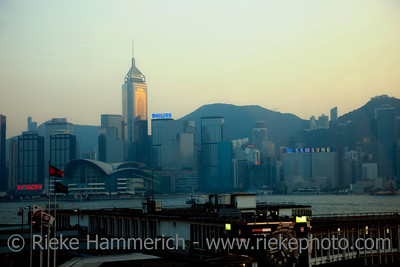 Star Ferry Pier and Skyline of Hong Kong at Sunset - Hong Kong Island, China, Asia