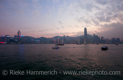 Skyline of Hong Kong at Dusk - Central Plaza and Two IFC on Hong Kong Island, China, Asia