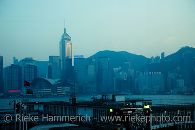 Star Ferry Pier and Skyline of Hong Kong at Dusk - Hong Kong Island, China, Asia